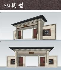 新中式建筑大门SU