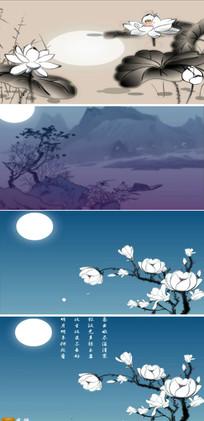 中国风荷花荷叶水墨视频素材 mp4