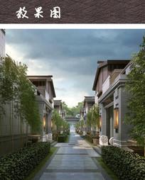 中式别墅小区建筑效果图 JPG
