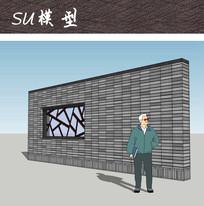 中式冰裂纹花窗景墙