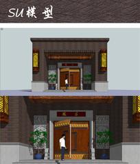 中式大门设计SU