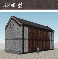 中式两层古建筑