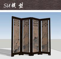 中式书法屏风SU