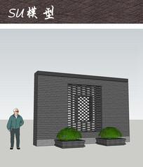 中式瓦片镂空装饰景墙
