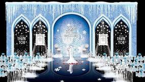 冰雪奇缘主题系婚礼舞台背景板