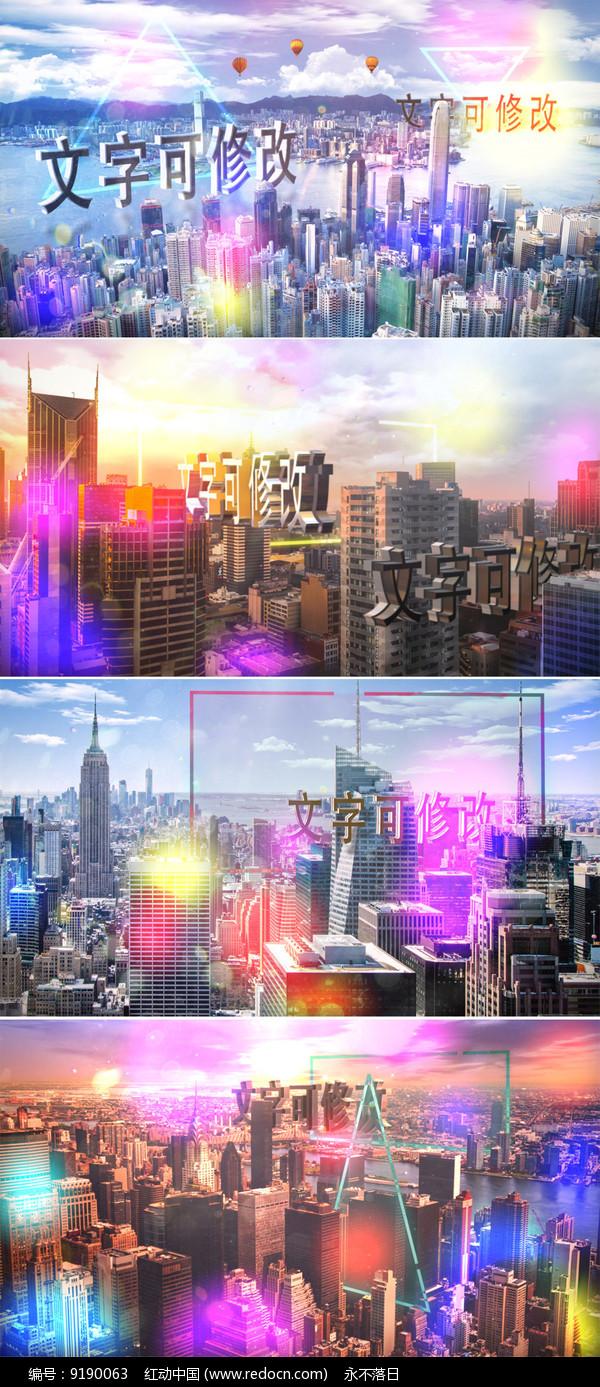城市上空文字标题宣传ae模板图片