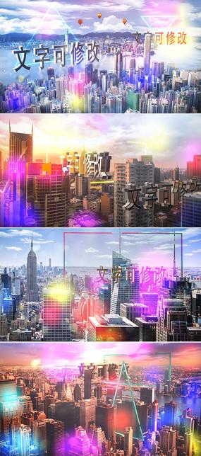 城市上空文字标题宣传ae模板