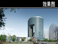 济南某道路规划圆形建筑效果图