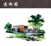 别墅手绘景观