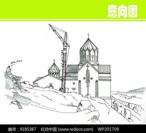 草原上欧式城堡建筑手绘图