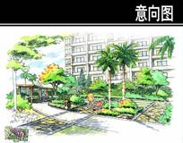 东南亚风情居住小区花坛手绘图