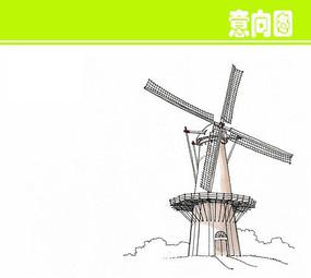 风车建筑水彩画