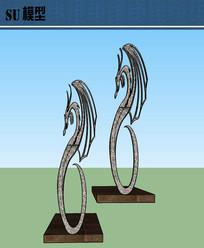 凤凰雕塑装饰su模型