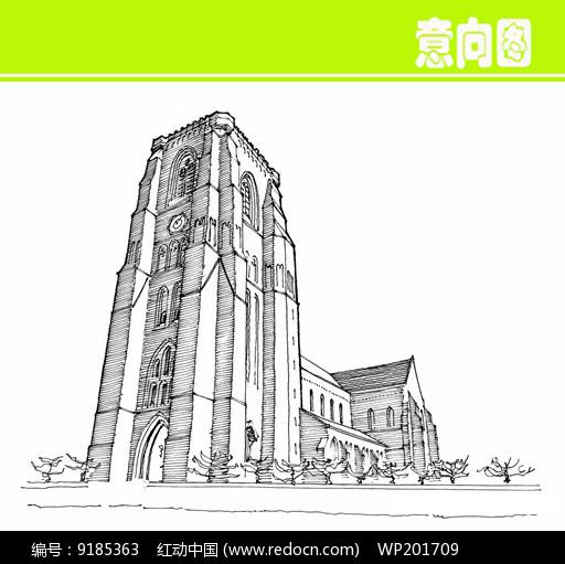 原创设计稿 方案意向 手绘素材 高层建筑俯视图素描画  请您分享