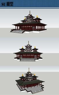 古建宫殿寺庙su模型