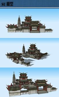 古建寺庙SU模型