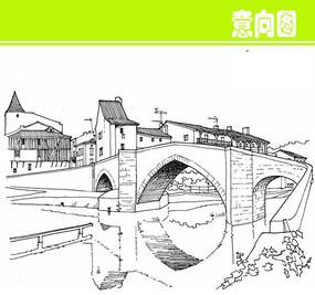 国外大桥建筑风光线描画图片