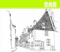 国外建筑街道手绘图 JPG