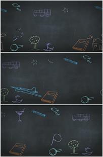 教室黑板粉笔画卡通背景视频