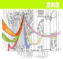 教堂内部彩色绸带素描画