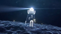 粒子组合成的灯塔发光视频 mp4