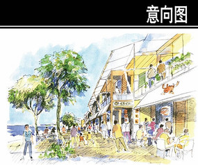 某岛规划旅游村沿湖商业手绘
