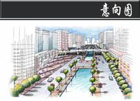 某生态公园生态城市商业区效果