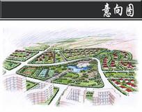 某生态公园生态住宅区透视图