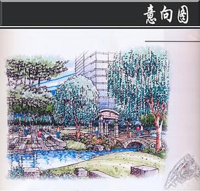 某小区中心庭院水景手绘图