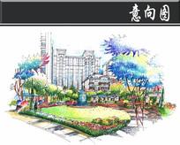 宁波某小区步道手绘图透视图