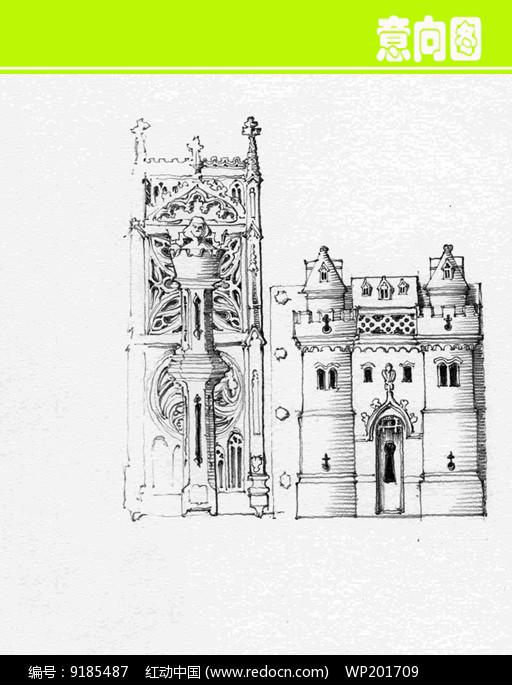欧式城堡建筑素描