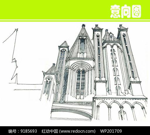 欧式城堡建筑素描手绘图