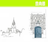 欧式创意花纹大门手绘图