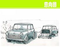 欧式复古汽车彩色手绘图