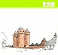 欧式古建土塔水彩画