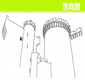 欧式简易建筑外形素描