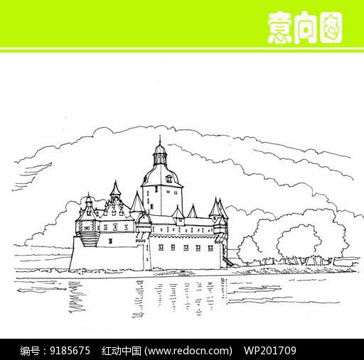 欧式建筑城堡素描画