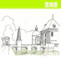 欧式建筑景观素描