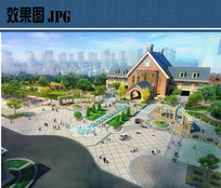 欧式建筑入口景观效果图 JPG