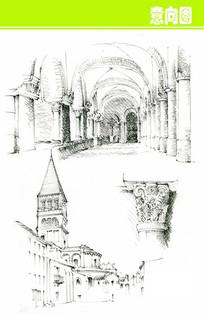 欧式建筑室内外素描画