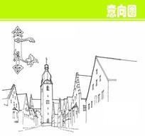 欧式建筑钟楼素描图片