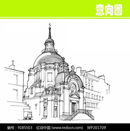 欧式圆顶城堡建筑素描JPG素材下载 编号9185503 红动网