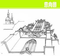 欧式钟楼建筑俯视素描图片