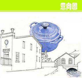 水彩锅炉建筑线描 JPG