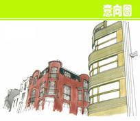 水彩建筑手绘图