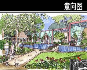 武汉某住宅会所景观手绘图