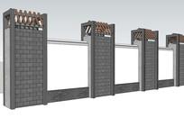 现代中式围墙模型
