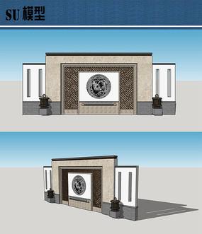 新中式景墙su模型