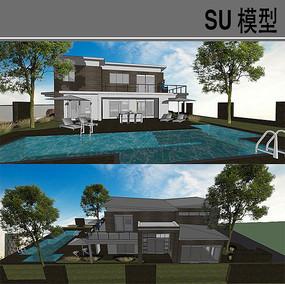 泳池别墅模型