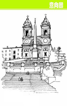 钟楼欧式建筑素描画